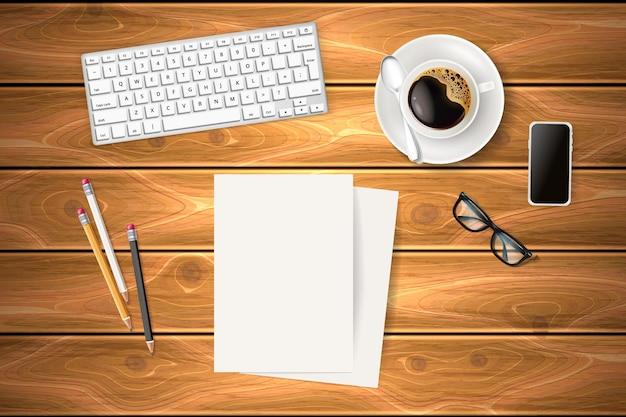 Objetos de negócios na mesa de textura de madeira xícara de café realista prato colher smartphone