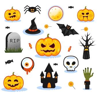 Objetos de pacote de halloween: abóboras, crânios, símbolos de férias assustadores.