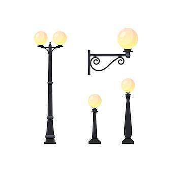 Objetos de pólo de luz. conjunto de lâmpadas de rua isoladas no fundo branco,