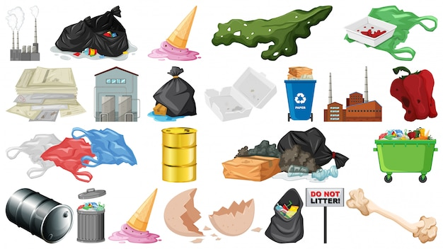 Objetos de poluição, lixo, lixo e lixo isolados