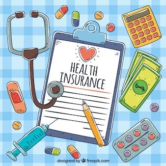 Objetos de seguro de saúde desenhados mão