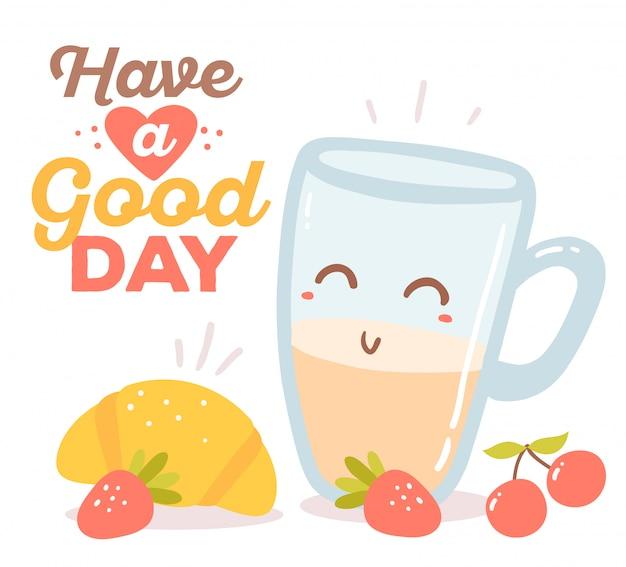 Objetos de tema colorido vermelho, azul e amarelo café da manhã com texto isolado no fundo branco.
