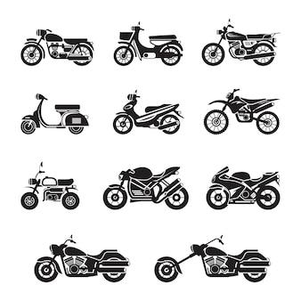 Objetos de tipos de motocicleta em preto e branco, conjunto de silhuetas