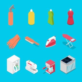 Objetos de trabalho doméstico isométricos com ilustração de spray