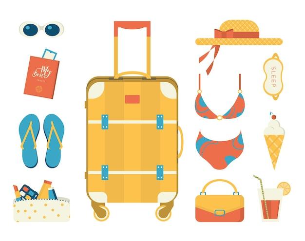 Objetos de viagem e mala para mulher conjunto de ilustrações vetoriais sobre o horário de verão design plano