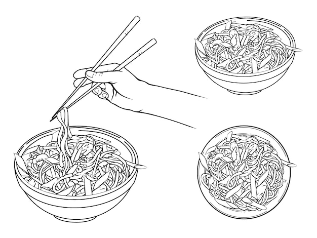 Objetos desenhados à mão. macarrão japonês em uma tigela, mão segurando os pauzinhos. estilo de arte de linha