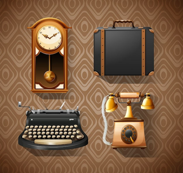 Objetos domésticos em estilos vintage