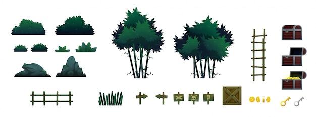 Objetos e objetos do jogo da floresta de bambu
