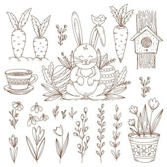 Objetos e símbolos desenhados à mão na páscoa