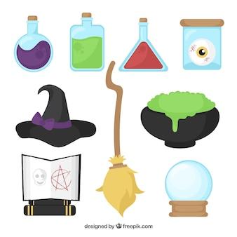Objetos em um laboratório de bruxas