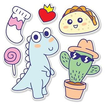 Objetos engraçados doodle adesivos