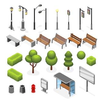 Objetos exteriores da rua isométrica da cidade ajustados. ilustração de estrutura verde árvore e tabuleta