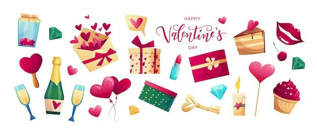 Objetos fofos do dia dos namorados e elementos para cartões