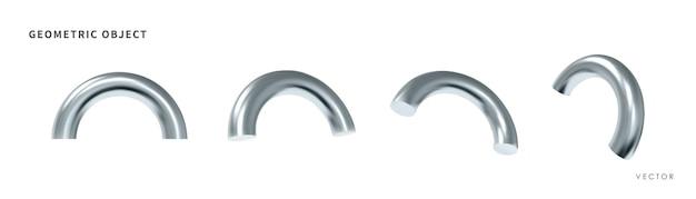 Objetos geométricos realistas 3d. formas de prata metálicas isoladas. vetor.
