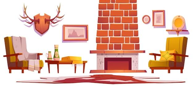 Objetos internos da sala de estar em estilo chalé tradicional, móveis de madeira, lareira, chifres e fotos penduradas na poltrona de parede com mesa xadrez e conjunto de desenhos animados de decoração para casa de pano de pele de vaca