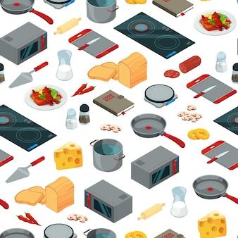 Objetos isométricos de comida ou ilustração padrão de cozinha
