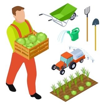 Objetos isométricos de fazendeiro e equipamento de jardinagem