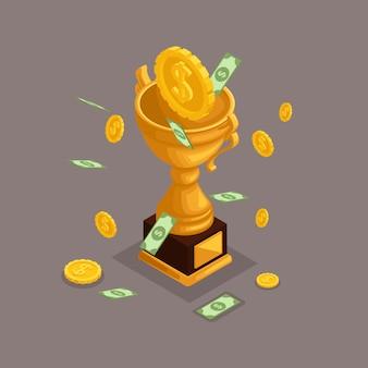 Objetos isométricos na moda, copa, prêmio, prêmio em dinheiro, dinheiro caem do céu, moedas de ouro, dólares em dinheiro, muito dinheiro é isolado