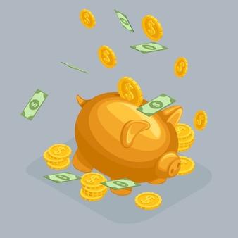 Objetos isométricos na moda, mealheiro, conceito de depósito bancário, porco dourado, dólares, notas de dinheiro, dinheiro caindo do céu isolado