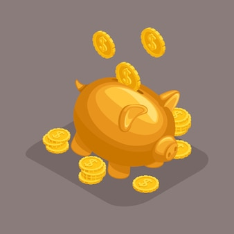 Objetos isométricos na moda, mealheiro, conceito de depósito bancário, porco dourado, moedas de ouro caindo do céu isolado
