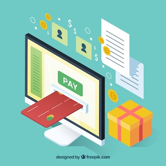 Objetos isométricos sobre o pagamento on-line