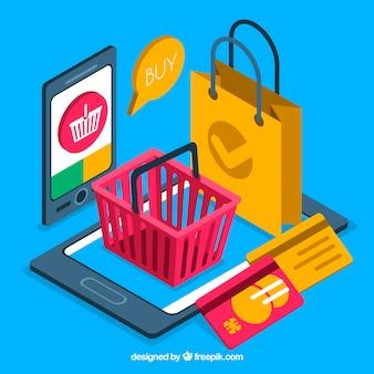 Objetos isométricos sobre pagamento eletrônico