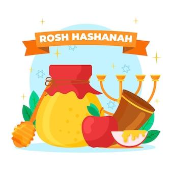 Objetos judaicos tradicionais de rosh hashaná de design plano