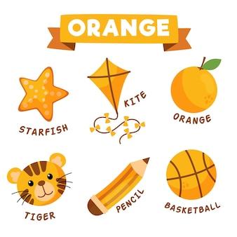 Objetos laranja e vocabulário definidos em inglês