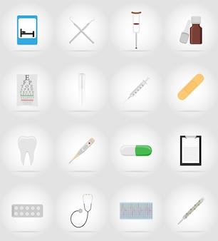 Objetos médicos e ilustração de ícones plana de equipamento