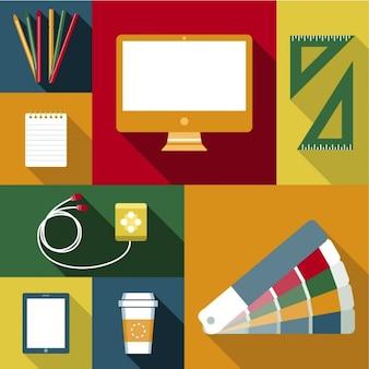 Objetos para o trabalho do desenhador