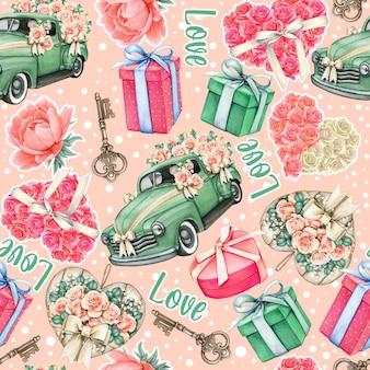 Objetos rosa e azul-petróleo com padrão de dia dos namorados em aquarela