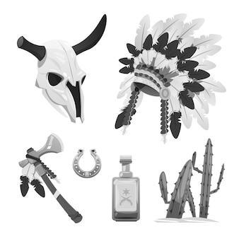 Objetos tribais índios búfalo crânio tomahawk