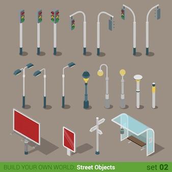 Objetos urbanos rua cidade isométrica plana. semáforos luzes de rua placa grande citylight ônibus transporte parar.