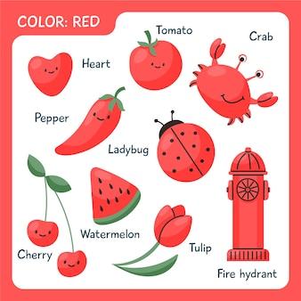 Objetos vermelhos e palavras do vocabulário em inglês