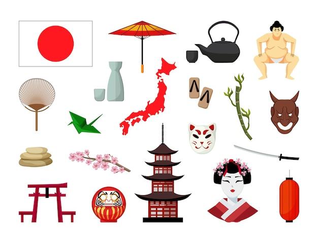 Objetos vetoriais associados ao japão