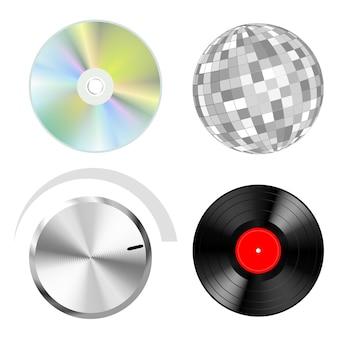 Objetos vetoriais de áudio: botão de discos e bola de discoteca