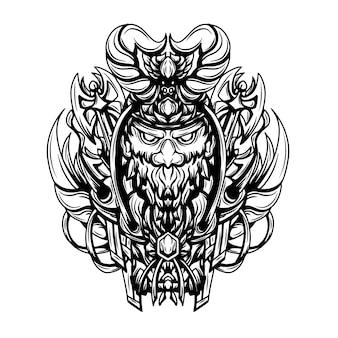 Obra de arte da ilustração da silhueta em preto e branco de um viquingue morto-vivo
