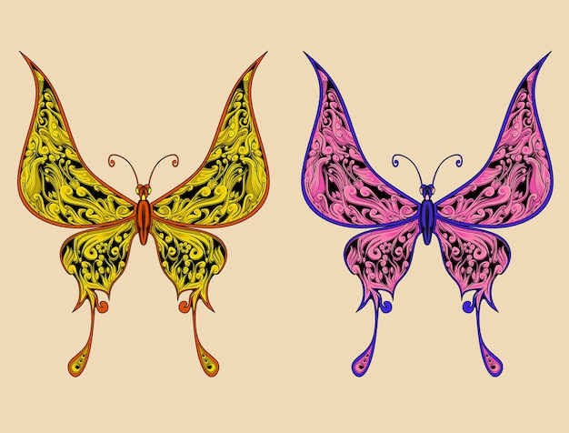 Obra de arte de dois enfeites de borboletas com ilustração em cores diferentes