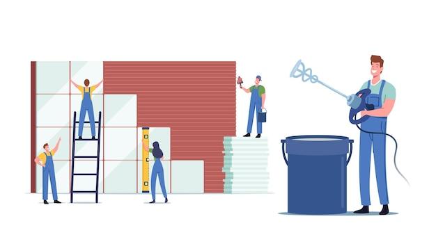 Obras de construção e reforma de casas, minúsculos trabalhadores masculinos personagens femininos colocando enormes cerâmicas na parede. serviço de reparador profissional, melhoria do manual de design. ilustração em vetor desenho animado