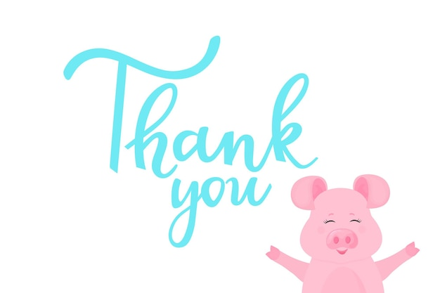 Obrigada. cartão com letras de mão desenhada e porco engraçado. porquinho fofo sorrisos.