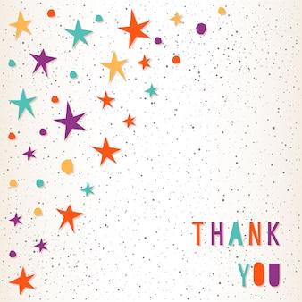 Obrigada. letras feitas à mão e estrelas para cartão de design, convite, camiseta, livro, banner, cartaz, álbum de recortes, etc.