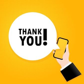 Obrigada. smartphone com um texto de bolha. cartaz com o texto obrigado. estilo retrô em quadrinhos. bolha do discurso do app do telefone.