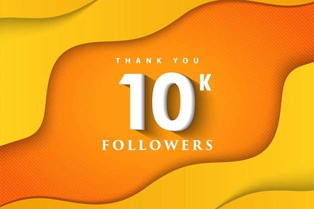 Obrigado, 10 mil seguidores com ondas laranjas e amarelas
