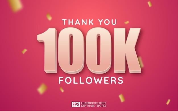 Obrigado, 100 mil seguidores, modelo de estilo de texto