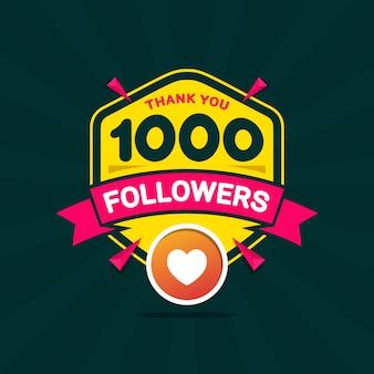 Obrigado 1000 seguidores bandeira de felicitações