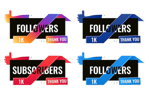 Obrigado 1000 seguidores e assinantes banner de mídia social