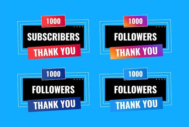 Obrigado 1000 seguidores e design de banner de assinante