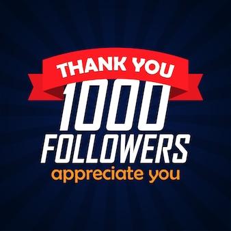 Obrigado 1000 seguidores parabéns. ilustração vetorial
