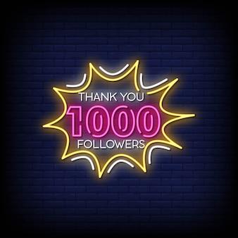 Obrigado 1000 seguidores sinais néon estilo texto