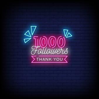 Obrigado 1000 seguidores texto de estilo de sinais de néon